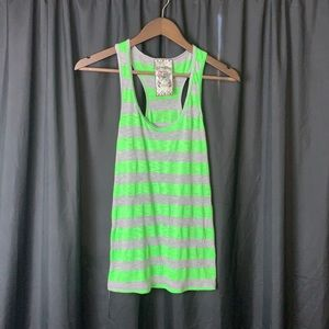 """A Fine Mess"" striped tank top green/gray"
